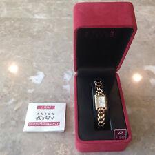 ANTON RUSANO Ladies Quartz Watch Gold Tone New Battery NIB! WOW!!!!