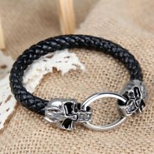 Leather And Silver Tone Metal Skull Bracelet
