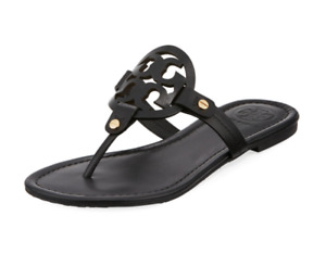 Tory Burch NEW Miller Black Leather Flat Sandals Double T Logo  $198 Many Sizes