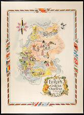 1951 - Carte d'Europe centrale et de l'est - Lithographie de Liozu