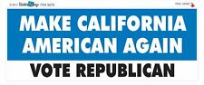 MAKE CALIFORNIA AMERICAN AGAIN - CONSERVATIVE POLITICAL BUMPER STICKER #9274