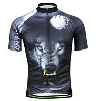 3D Wolf Men's Cycling Jersey Shirt Short Sleeve Bike Bicycle Jacket Jerseys Tops