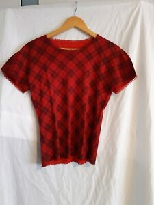 Pleats please Issey Miyake red check top size 3 made in Japan
