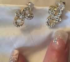GP7 gold plated Heart Diamante created Diamond stud Earrings,  sparkly 20mm UK