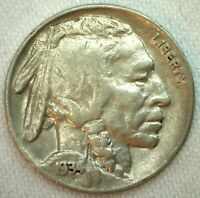 1934 Buffalo Indian Head US Nickel Five Cent Coin 5c US XF Extra Fine