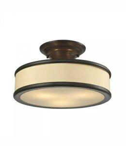 Elk Lighting Clarkton Bronze Fabric Sides Glass Bottom 3 Light Semi Flusmount