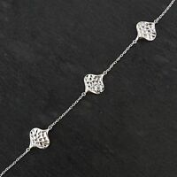 Hammered Texture Lily Pad Bracelet - 925 Sterling Silver - CZ Cable Chain NEW