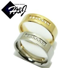 MEN Stainless Steel 6mm Silver/Gold 0.21 CT Eternity CZ Wedding Band Ring*R67