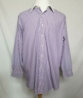 Brooks Brothers Mens 17 ~34 Non Iron Button Up Dress Shirt Purple Striped