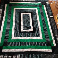 "New Handmade Cotton Quilt:  size 52""x45"". Green, white, black"