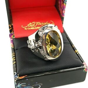 Authentic Ed Hardy Little Devil Yellow CZ Stainless Steel Ring Many Sizes