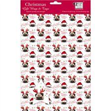 Christmas Wrap & Tags - Cute Santa Pug (5 Sheets+Tags)