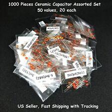 1000 Pcs Ceramic Capacitor Assorted Kit Assortment Set 50 Values 50v Us Seller