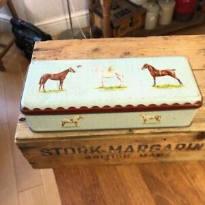 Vintage Long Rectangular Biscuit / Confectionary Tin – Types of Pony / Horse –