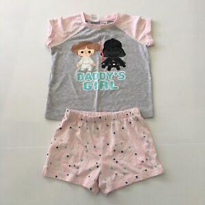 Star Wars Daddy's Girl Pyjama Set Size 4 Short Sleeve Top & Shorts Sleepwear