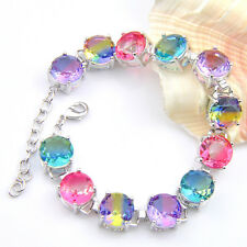 Holiday Jewelry Gift Round Bi Colored Tourmaline Gems Silver Charming Bracelets