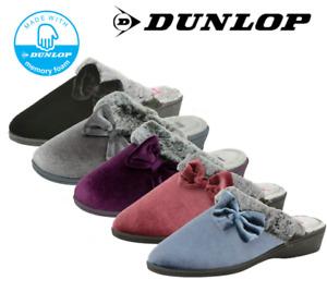 Ladies Dunlop Spanish Style Mule Warm Faux Fur Trim Slip On Slippers Sizes 3-8