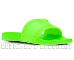 VERSACE men 43EU 10US neon green CARDINAL Medusa slide FLIP-FLOP sandal NIB Auth