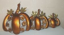 NEW 3 pc Set Metal Art Wall Hanging Pumpkin/Halloween/Fall/Autumn/Thanksgiving