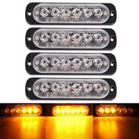 Amber 6 LED 18W Bar Car Truck Strobe Flash Emergency Warning Light Lamp 12V FT