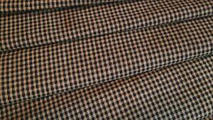 Antique Primitive Tan Black Tiny Halloween Check Plaid Cotton Homespun Fabric