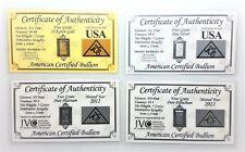 1/3 Gram .999 Fine - Gold - Silver - Platinum - Palladium - in COA Cards