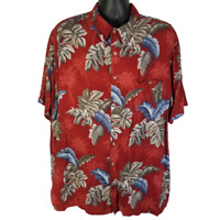 Croft & Barrow Mens 2XLT Rayon Hawaiian Shirt Red w/ Tropical Leaves Palm Trees