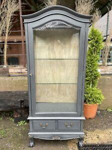 Vintage grey painted Display Cabinet