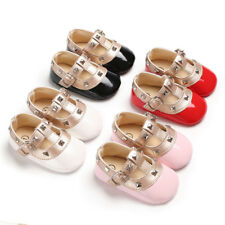 Newborn Infant Baby Girl T-Bar Crib Shoes Patent Leather Mary Janes Party Shoes