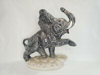 50's 60's Vintage Ceramic Elephant Planter Trunk Up, detailed, great condition