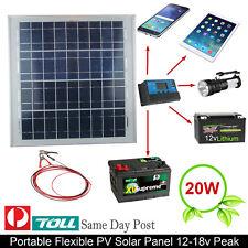 12v/18vDC MONOCRYSTALLINE 20W SOLAR PANEL CHARGE BATTERY TRICKLE CHARGER CAR
