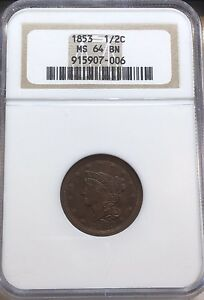 1853 NGC MS 64 BN Braided Hair Half Cent Coin 1/2c