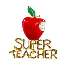 Red Super Teacher Xmas Gift Unisex With Crystal Brooch Pin Show Your Love Xr