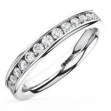 0.15CT Diamante Corte Brillante Redondo Media Eternidad Anillo De Boda en Oro Blanco 9K