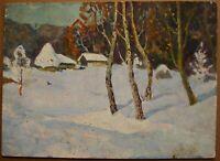 Russian Ukrainian Soviet Oil Painting Impressionism landscape village winter