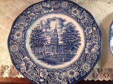 Staffordshire LIBERTY BLUE ironstone DINNER PLATE Independence Hall Made England