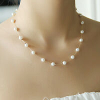 Single Layer Chain Pearl Bead Silver / Gold Color Charms Necklace Gift Women