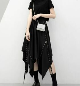 Gothic Women Skirt Irregular With Laces Goth Dark Gothic - Uk Seller