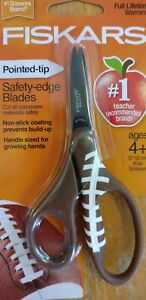 Fiskars  5 Inch Scissors  Ages 4+ Pointed Tip, Safety Edge Blades Football