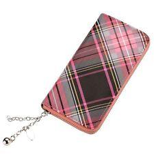 Rosa Funky Retro escocés Tartan embrague de estilo Bolso Cartera-Zip alrededor