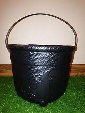 Rare Vintage Black Halloween Trick Or Treat Cauldron Blow Mold Pail w/Handle