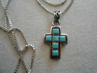 """Sterling Silver Southwest Mosaic Turquoise Cross Pendant 18"""" Necklace   181905"""