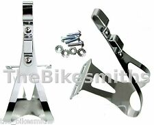 Chrome Double Strap LARGE Road Bike Toe Clips Steel Track Fixed Gear Bicycle