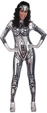 ROBOT JUMPSUIT FEMALE ALL IN ONE SILVER SPACE COSTUME SEXBOT FANCY DRESS