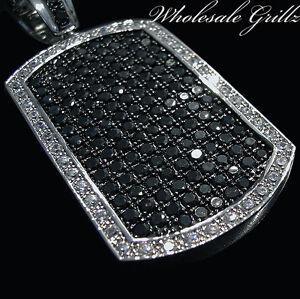 $199 NEW 14k White Gold Gp HipHop DogTag SIMULATE BLACK DIAMOND Dog Tag Pendant