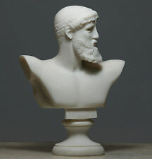 Greek Roman King God ZEUS Bust Head Alabaster Statue Sculpture 6.3΄΄