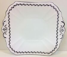 "Shelley Queen Anne Shape ""Laurel Border"" Pattern Tab Handle Cake Plate."