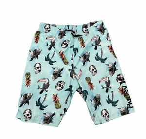 NWT$38 Hurley Youth Boy's Elastic Waist Broadshorts Swim 14/16 Shark Skull