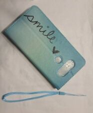Smile Blue Leather Wallet Case Flip Cover Kickstand Card for Cell Phones