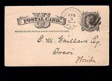 Benedict & McConihe Jacksonville FL Fancy Cancel 1883 Postal Card 3m